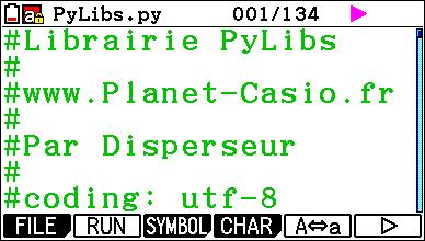 Planète Casio - Programme Casio - PyLibs - disperseur - Calculatrices